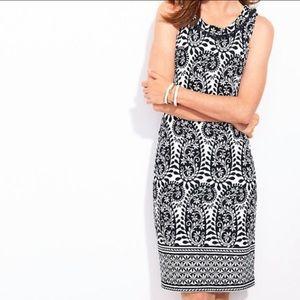 Talbots pom neck paisley sleeveless dress 1197